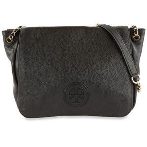 Tory burch marion flap black leather shoulder bag